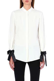 ALEXANDER MCQUEEN Ribbon-cuff silk shirt