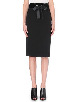 ALEXANDER MCQUEEN Velvet-waistband wool skirt
