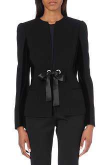 ALEXANDER MCQUEEN Ribbon-tie velvet-panelled jacket