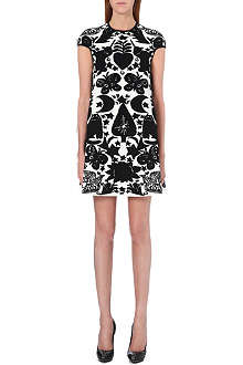 ALEXANDER MCQUEEN Jacquard-knit wool-blend mini dress