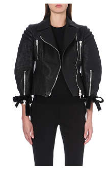ALEXANDER MCQUEEN Ribbon-detail leather jacket