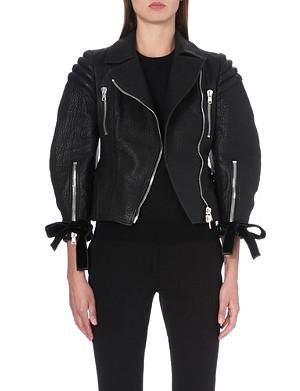 ALEXANDER MCQUEEN Ribbon-detail leather jacket