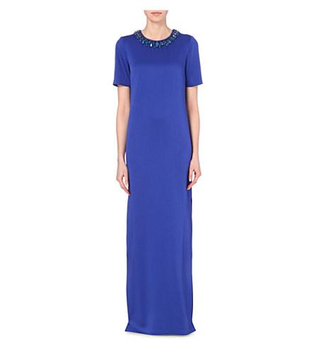 ALEXANDER MCQUEEN Embellished crepe gown (Blue