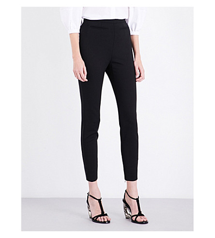 ALEXANDER MCQUEEN Skinny high-rise wool-blend trousers (Black