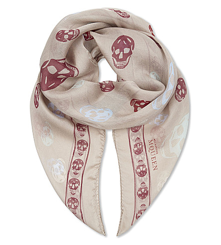 ALEXANDER MCQUEEN Skull print silk scarf (Old+rose/light+purpl