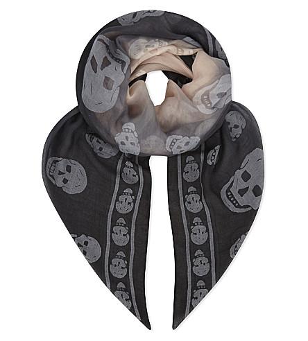 ALEXANDER MCQUEEN Ombré skull modal-blend scarf (Black/pink