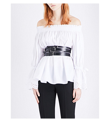 ALEXANDER MCQUEEN Off-the-shoulder cotton-poplin top (Wht