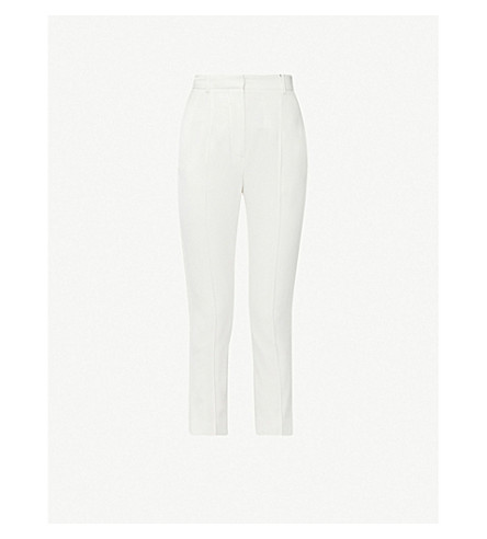 ALEXANDER MCQUEEN Straight cropped crepe trousers (Ivory