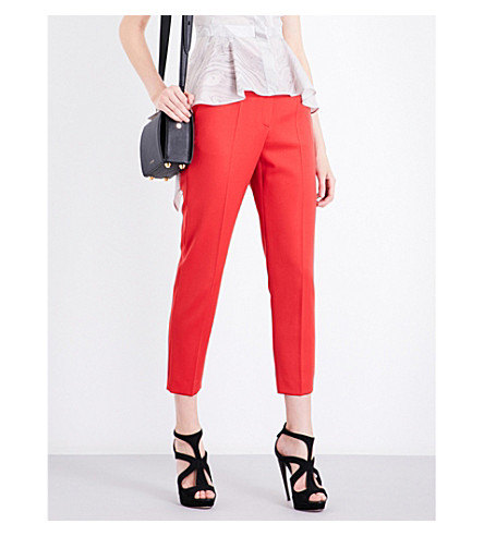 ALEXANDER MCQUEEN Slim-fit tapered cropped wool trousers (Scarlet+red