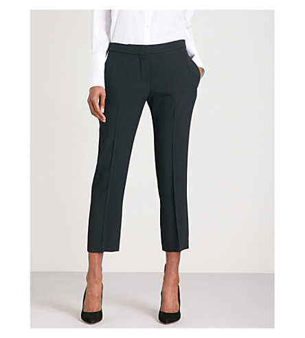 ALEXANDER MCQUEEN Tapered cropped mid-rise crepe trousers (Black