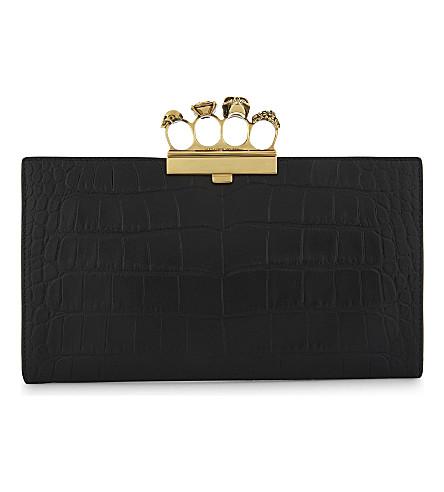 ALEXANDER MCQUEEN Crocodile-embossed leather clutch (Black