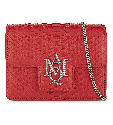 ALEXANDER MCQUEEN AMQ insignia snake-skin cross-body bag (Deep red