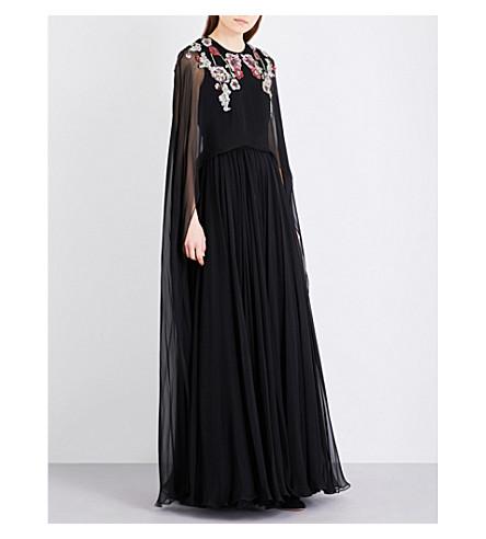 ALEXANDER MCQUEEN Floral-embroidered silk gown (Blk