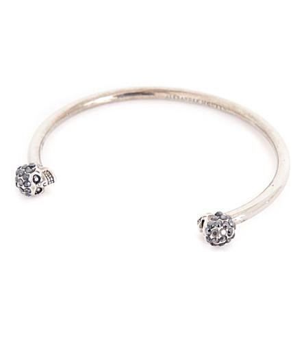 ALEXANDER MCQUEEN Jewelled twin skull bracelet (0446+jet+hematite