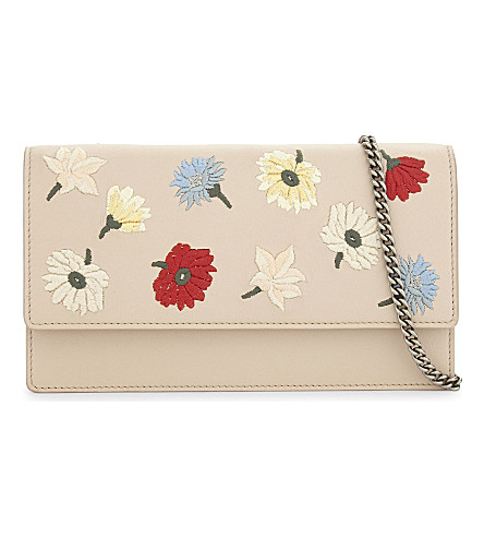 ALEXANDER MCQUEEN Flower leather clutch bag (Multicolor+spit. pink