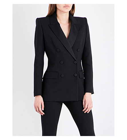 ALEXANDER MCQUEEN Satin-trim double-breasted wool and silk-blend jacket (Black