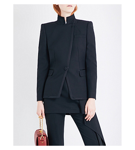 ALEXANDER MCQUEEN Asymmetric single-breasted wool-blend jacket (Black