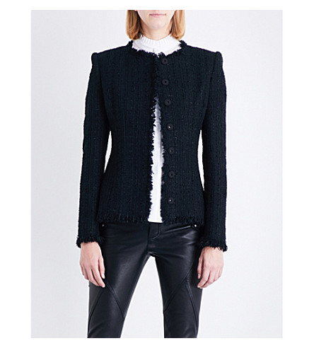 ALEXANDER MCQUEEN Frayed tweed jacket (Black