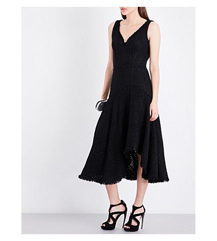 ALEXANDER MCQUEEN V-neck asymmetric-hem woven dress (Black
