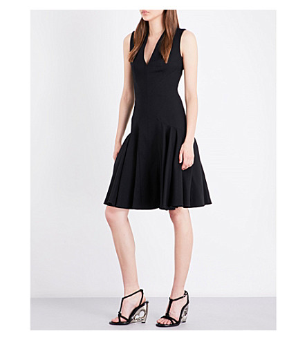 ALEXANDER MCQUEEN V-neck wool-blend dress (Black