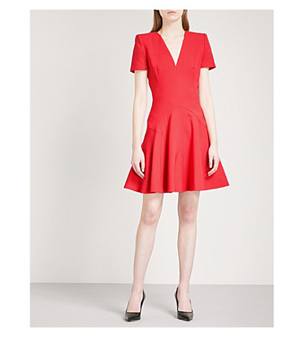 ALEXANDER MCQUEEN V-neck wool-blend mini dress (Scarlet+red