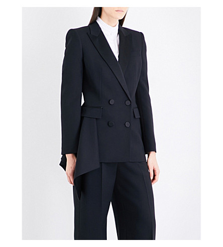 ALEXANDER MCQUEEN Draped-hem double-breasted wool-blend blazer (Black