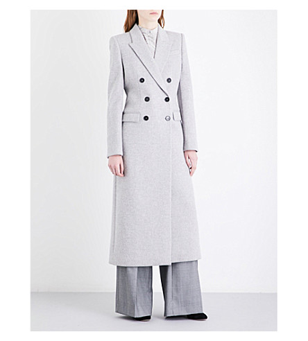 ALEXANDER MCQUEEN Double-breasted brushed-wool coat (Grey+mel