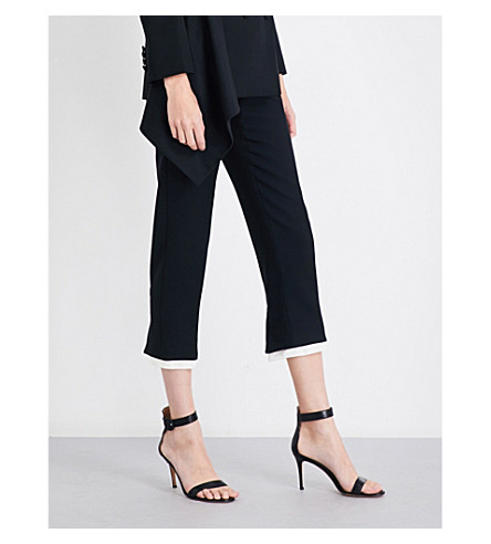 ALEXANDER MCQUEEN Contrast hem cropped wool-blend trousers (Black
