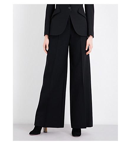 ALEXANDER MCQUEEN Wide-leg mid-rise wool-blend trousers (Black
