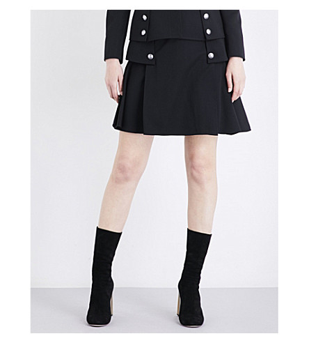 ALEXANDER MCQUEEN Military-detail A-line high-rise wool skirt (Black
