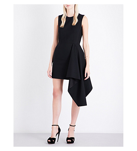 ALEXANDER MCQUEEN Draped-hem fit-and-flare wool-blend dress (Black
