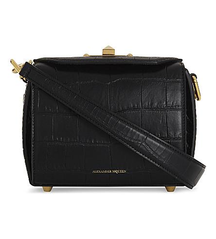 ALEXANDER MCQUEEN Crocodile-embossed leather shoulder bag (Black