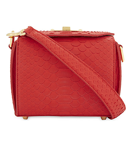 ALEXANDER MCQUEEN Snakeskin nappa leather box bag (Lust+red