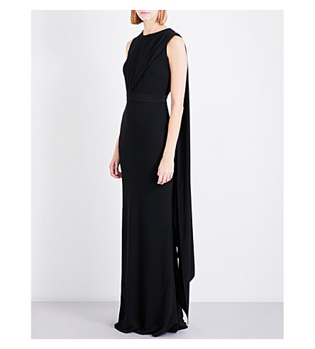 ALEXANDER MCQUEEN Open-back draped crepe gown (Black