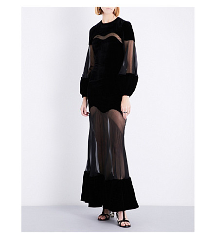 ALEXANDER MCQUEEN Sheer-panel fit-and-flare velvet gown (Black
