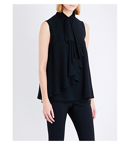 ALEXANDER MCQUEEN Ruffled bow silk-georgette top (Black