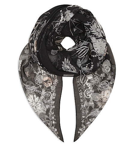 ALEXANDER MCQUEEN Jewelled skull print chiffon scarf (Black/light+grey