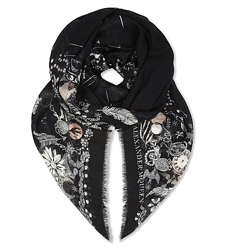 ALEXANDER MCQUEEN Jewelled skull print silk blend scarf (Black/light+grey