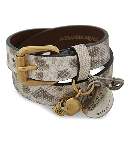 ALEXANDER MCQUEEN Jewelled skull and safety pin double-wrap leather bracelet (Rock