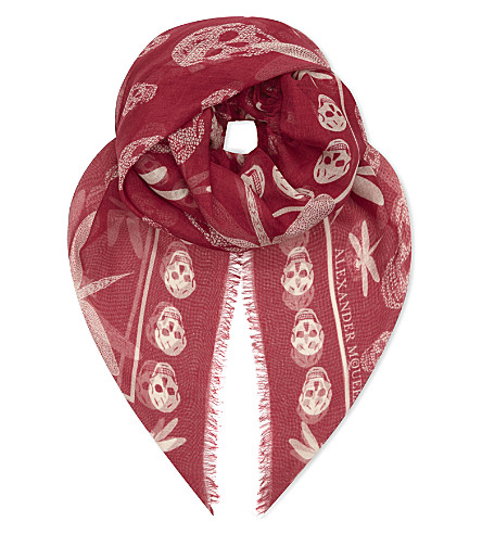 ALEXANDER MCQUEEN Skull and dragonfly print silk scarf (Magenta/pink