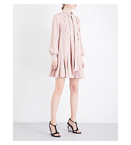 ALEXANDER MCQUEEN Neck-tie ruffle-detail silk-crepe dress (Plaster+pink