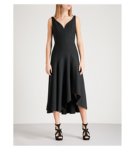 ALEXANDER MCQUEEN V-neck wool-blend dress (Black