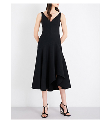 ALEXANDER MCQUEEN V-neck wool-blend dress (Marble