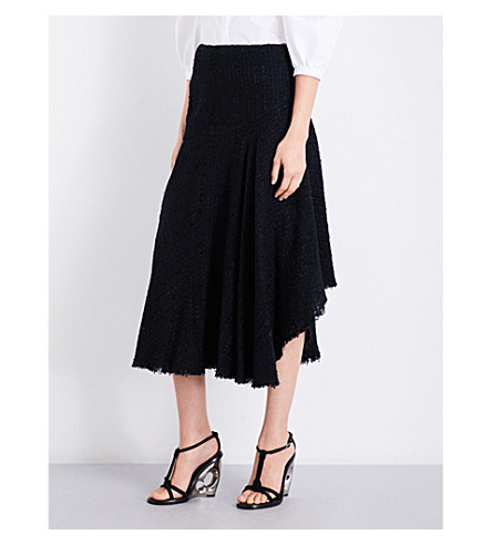 ALEXANDER MCQUEEN Asymmetric tweed midi skirt (Black