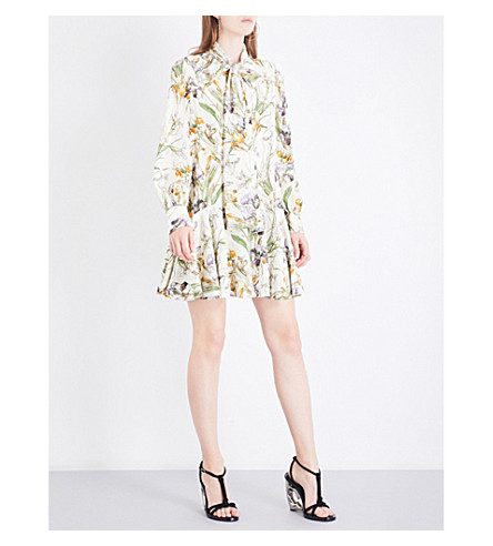 ALEXANDER MCQUEEN Floral-print pussybow silk-crepe dress (Ivory+mix
