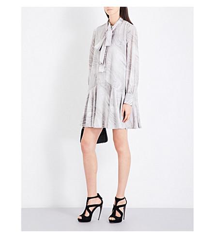 ALEXANDER MCQUEEN Marble-print self-tie silk crepe-de-chine dress (Grey