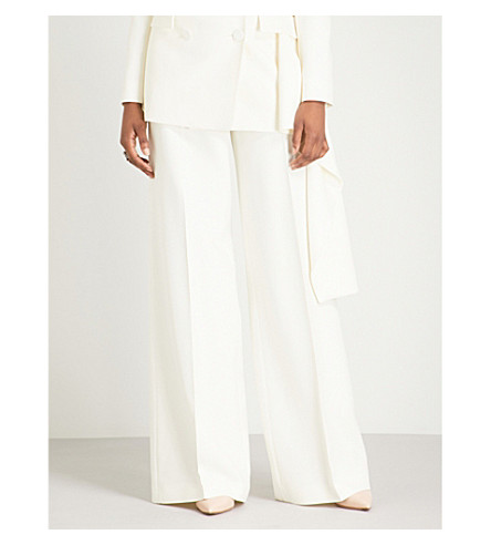 ALEXANDER MCQUEEN High-rise wide wool-blend trousers (Ivory