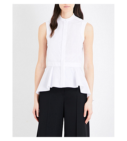 ALEXANDER MCQUEEN Sleeveless cotton-poplin shirt (White