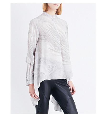 ALEXANDER MCQUEEN Asymmetric silk shirt (Grey