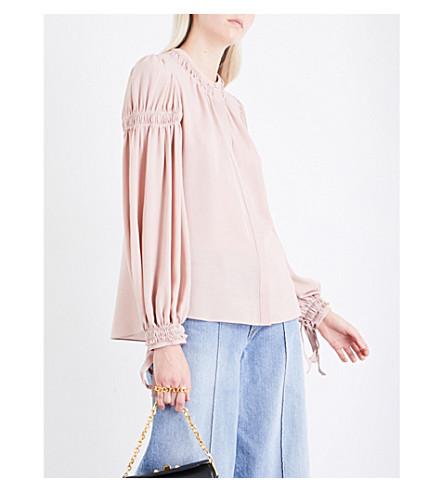 ALEXANDER MCQUEEN Ruched silk-crepe shirt (Plaster+pink